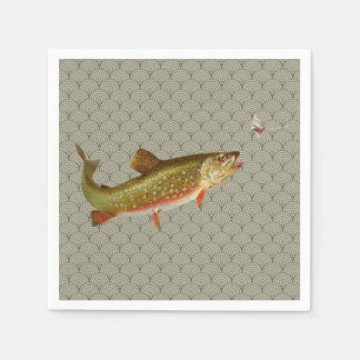 Vintage rainbow trout fly fishing paper napkin