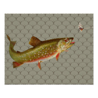 Vintage rainbow trout fly fishing poster