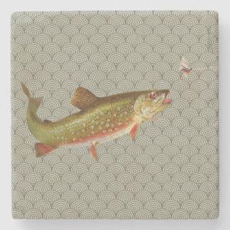 Vintage rainbow trout fly fishing stone coaster