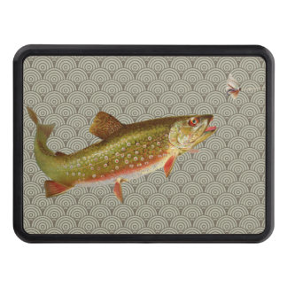 Vintage rainbow trout fly fishing tow hitch cover
