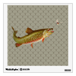 Vintage rainbow trout fly fishing wall sticker