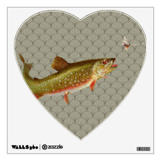 Vintage rainbow trout fly fishing room stickers