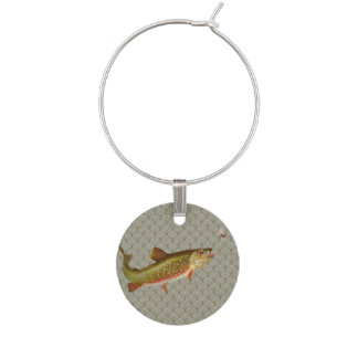 Vintage rainbow trout fly fishing wine glass charm