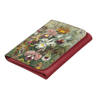Vintage Rainforest Orchids, Flowers, Ernst Haeckel Leather Tri-fold Wallet