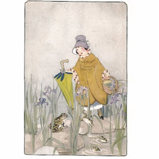 Vintage Rainy Day Frog Photo Cut Out