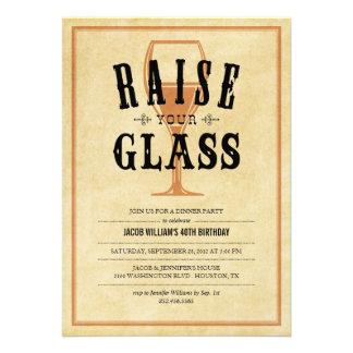 Vintage Raise Your Glass Party Invitations