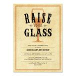 """Vintage Raise Your Glass Party Invitations 5"""" X 7"""" Invitation Card"""