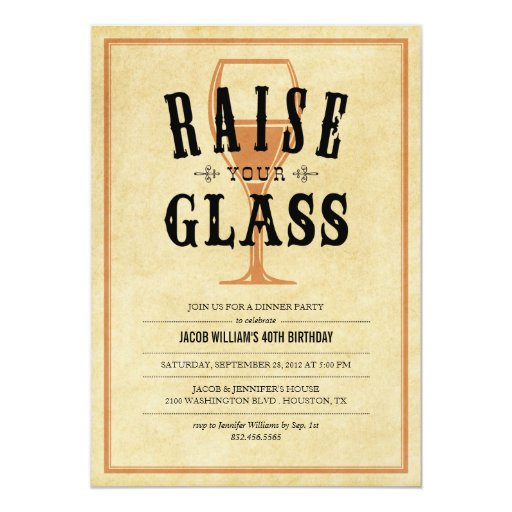 "Vintage Raise Your Glass Party Invitations 5"" X 7"" Invitation Card"