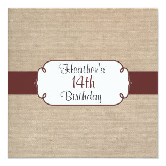 Vintage Raisin and Beige Burlap Birthday Party Card
