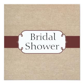 Vintage Raisin and Beige Burlap Bridal Shower Card