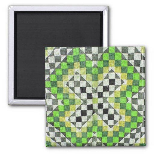 Vintage Ralli Quilt Design 1-Green 2 Inch Square Magnet
