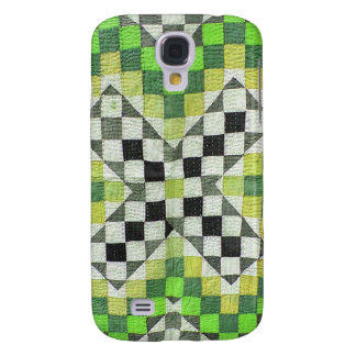 Vintage Ralli Quilt Design 1-Green Galaxy S4 Cover