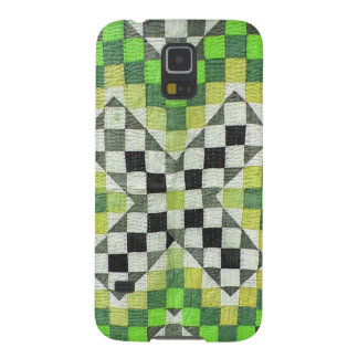 Vintage Ralli Quilt Design 1-Green Galaxy S5 Covers
