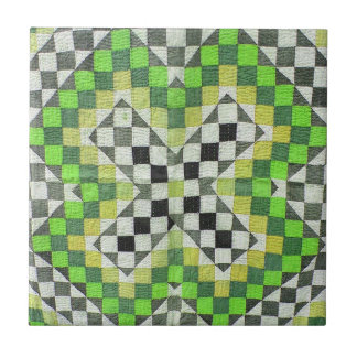 Vintage Ralli Quilt Design 1-Green Ceramic Tile