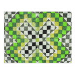 Vintage Ralli Quilt Design 1-Green Postcard