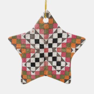 Vintage Ralli Quilt Orange Ceramic Ornament