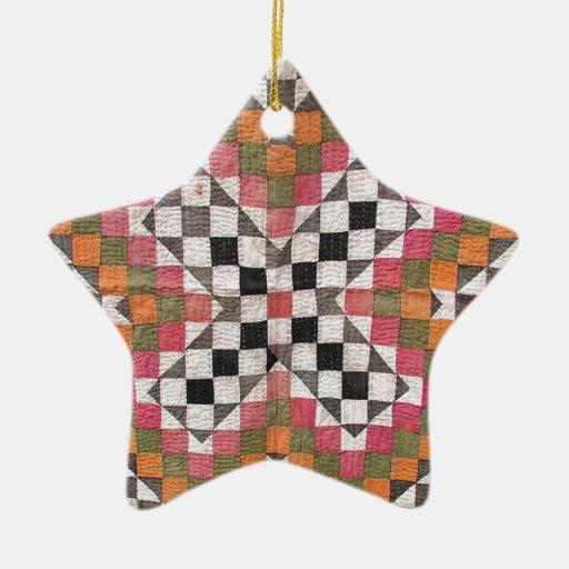 Vintage Ralli Quilt Orange Christmas Ornament