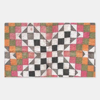 Vintage Ralli Quilt Orange Rectangular Sticker
