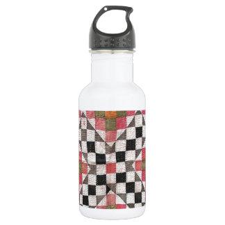 Vintage Ralli Quilt Orange Stainless Steel Water Bottle