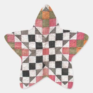 Vintage Ralli Quilt Orange Star Sticker