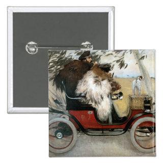 Vintage Ramón Casas y Pere Romeu en un automóvil Pins
