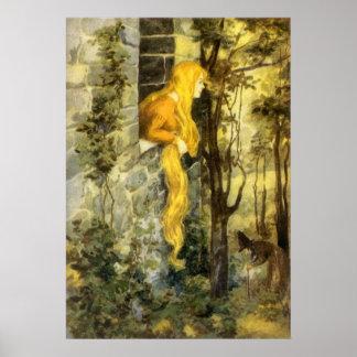 Vintage Rapunzel. Princesa con el pelo rubio largo Poster
