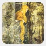 Vintage Rapunzel. Princesa con el pelo rubio largo Calcomanias Cuadradas