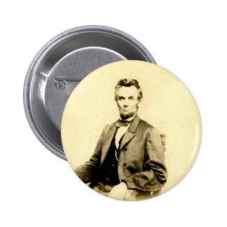 VINTAGE RARO de presidente Abraham Lincoln Pin Redondo De 2 Pulgadas