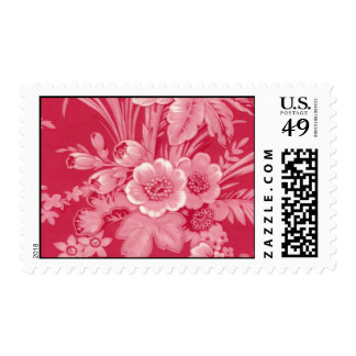 Vintage Raspberry Red Floral Postage