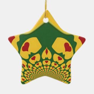 Vintage Rastas Color One Lovely Hakuna Matata.jpg Double-Sided Star Ceramic Christmas Ornament