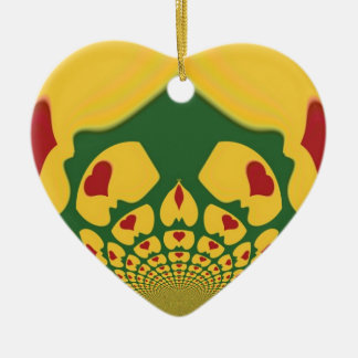 Vintage Rastas Color One Lovely Hakuna Matata.jpg Double-Sided Heart Ceramic Christmas Ornament