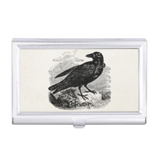 Vintage Raven Black Bird Crow Personalized Birds Business Card Holder