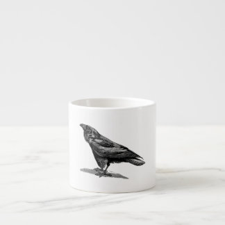 Vintage Raven Crow Blackbird Bird Illustration Espresso Cup