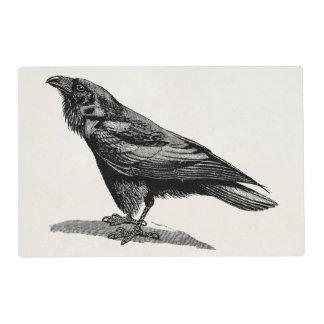 Vintage Raven Crow Blackbird Bird Illustration Placemat