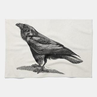 Vintage Raven Crow Blackbird Bird Illustration Towel