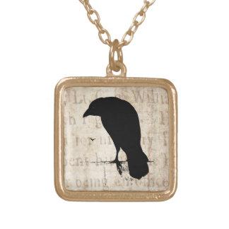 Vintage Raven - Custom Goth Crows Ravens Square Pendant Necklace