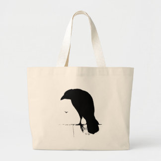 Vintage Raven - Customized Goth Crows Ravens Large Tote Bag