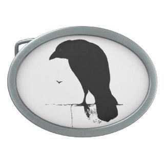 Vintage Raven - Customized Goth Crows Ravens Oval Belt Buckle