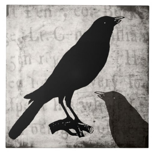 Vintage Raven Goth Collage Customized Birds Crow Ceramic Tiles