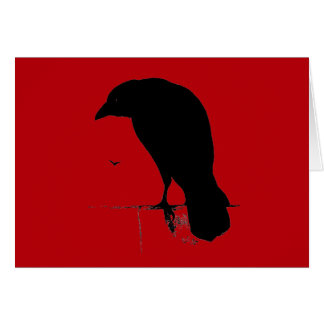 Vintage Raven on Blood Red Template Card