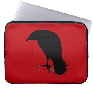 Vintage Raven on Blood Red Template Laptop Sleeves