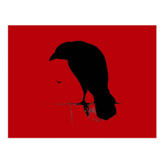 Vintage Raven on Blood Red Template Postcard