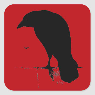 Vintage Raven on Blood Red Template Square Stickers