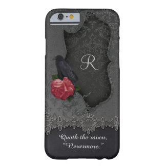 Vintage Raven Red Rose Black Damask Monogram Barely There iPhone 6 Case