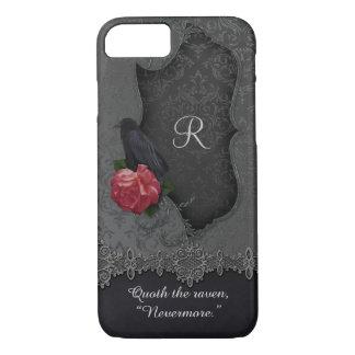 Vintage Raven Red Rose Black Damask Monogram iPhone 8/7 Case