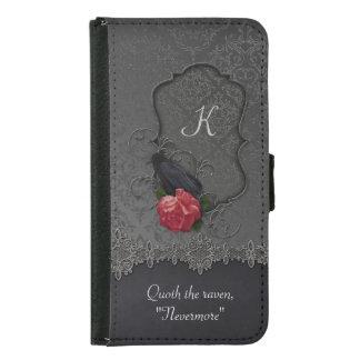 Vintage Raven Red Rose Black Damask Monogram Wallet Phone Case For Samsung Galaxy S5