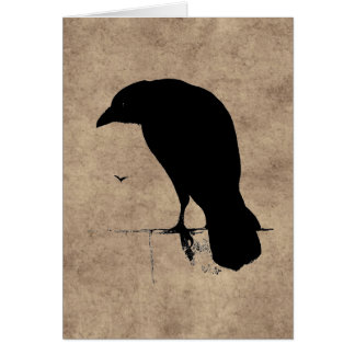 Vintage Raven Silhouette Black Ravens and Crows Card