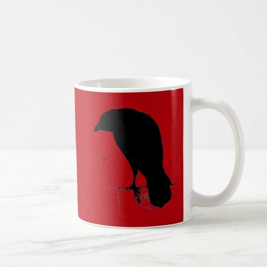 Vintage Raven Silhouette Black Red Ravens Crows Coffee Mug
