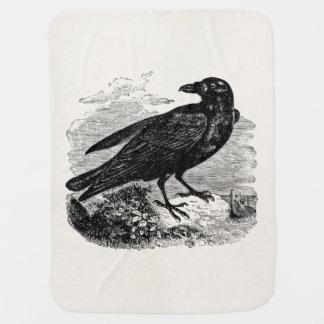 Vintage Raven Silhouette Retro Goth Ravens Birds Baby Blanket