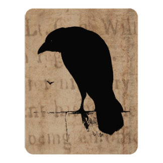 Vintage Raven Silhouette Retro Goth Ravens Birds Card